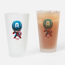 Chibi Captain America Stylized Drinking Glass