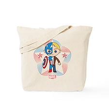 Chibi Captain America Stylized Badge Tote Bag