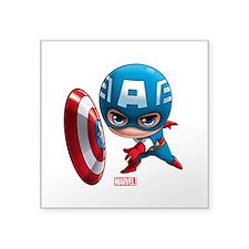 "Chibi Captain America Styli Square Sticker 3"" x 3"""