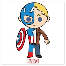 Chibi Captain America Half-and-Half Wall Art Poster