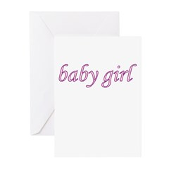 Baby Girl (pink & purple) Greeting Cards (Pk of 10
