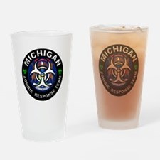 Michigan Zombie Response Team White Drinking Glass