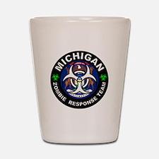 Michigan Zombie Response Team White Shot Glass