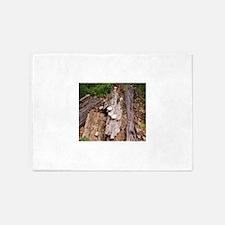 Mushrooms on old log 5'x7'Area Rug