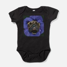 Pug Pansy Dog Art Baby Bodysuit