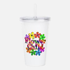 Retro Flower Child Acrylic Double-wall Tumbler