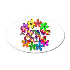 Retro Flower Child 20x12 Oval Wall Decal