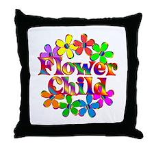 Retro Flower Child Throw Pillow