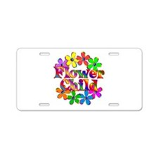 Retro Flower Child Aluminum License Plate