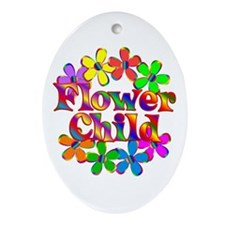 Retro Flower Child Ornament (Oval)