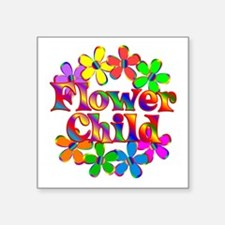 "Retro Flower Child Square Sticker 3"" x 3"""