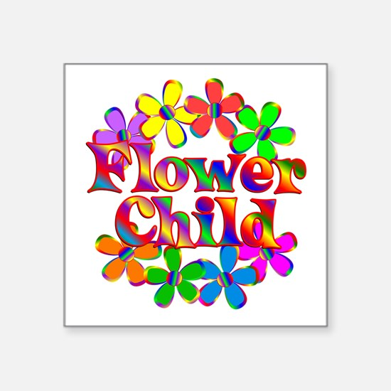 "Retro Flower Child Square Sticker 3"" x 3"""