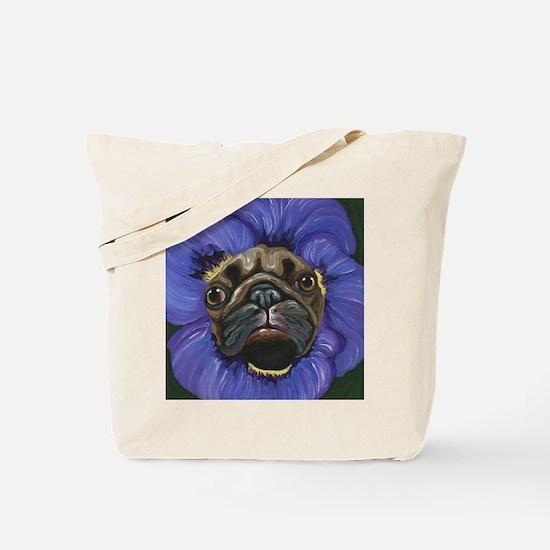Pug Pansy Dog Art Tote Bag