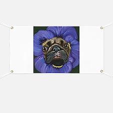 Pug Pansy Dog Art Banner