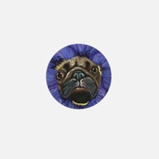 Pug Pansy Dog Art Mini Button