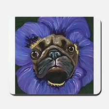 Pug Pansy Dog Art Mousepad