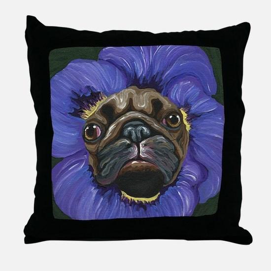 Pug Pansy Dog Art Throw Pillow
