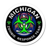 Michigan zombie Round Car Magnets