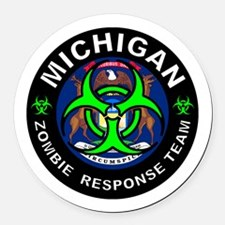 Michigan Zombie Response Team Gre Round Car Magnet