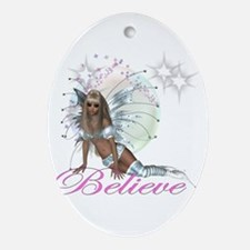 believe fairy moon.png Ornament (Oval)