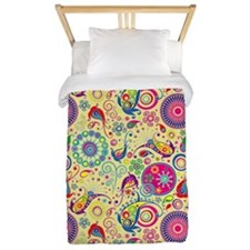 Flowers and Bugs on Acid on Yellow Twin Duvet