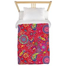 Flowers and Bugs on Acid on Red Twin Duvet