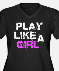 Play Like A Women's Plus Size V-Neck Dark T-Shirt