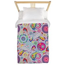 Flowers and Bugs on Acid on Grey Twin Duvet