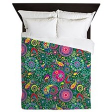 Flowers and Bugs on Acid on Green Queen Duvet