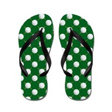 Golf Balls and Tees on Green Flip Flops