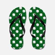 Golf Balls and Tees on Green Flip Flops