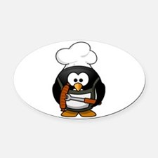 Penguin Grill Oval Car Magnet