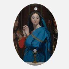 The Virgin Adoring the Host Ornament (Oval)