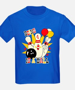 Cute Bowling Pin 4th Birthday T
