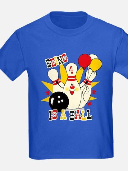 Cute Bowling Pin 4th Birthday T