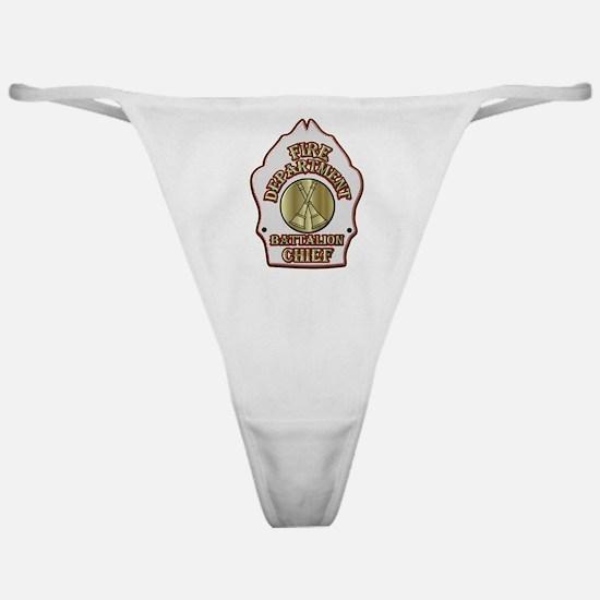 battalion chief FD badge white Classic Thong
