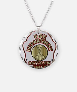 battalion chief FD badge whi Necklace