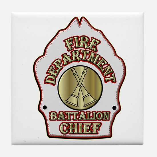 battalion chief FD badge white Tile Coaster