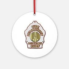 battalion chief FD badge white Ornament (Round)