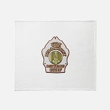 battalion chief FD badge white Throw Blanket