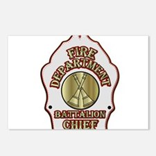battalion chief FD badge Postcards (Package of 8)