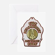 battalion chief FD badge white Greeting Cards