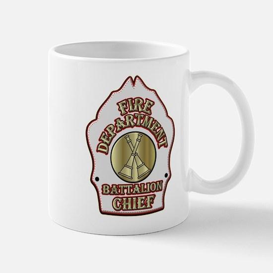 battalion chief FD badge white Mugs