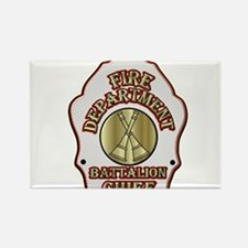 battalion chief FD badge white Magnets