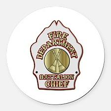battalion chief FD badge white Round Car Magnet