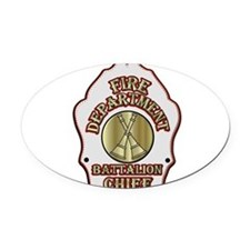 battalion chief FD badge white Oval Car Magnet