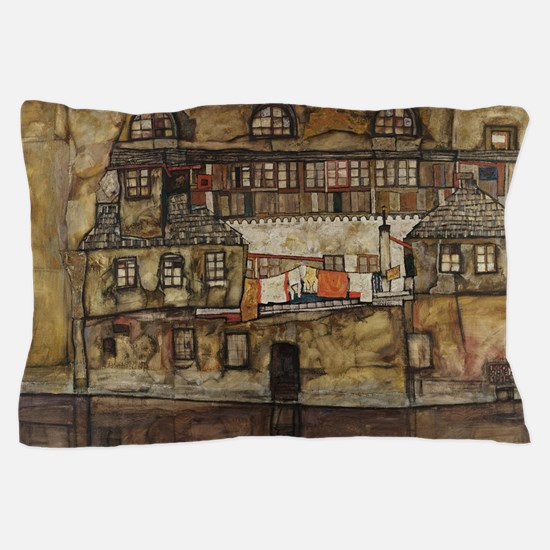 House Wall on the River by Egon Schiel Pillow Case