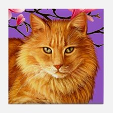 Long Haired Orange Tabby Cat Tile Coaster