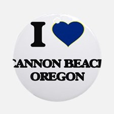 I love Cannon Beach Oregon Ornament (Round)