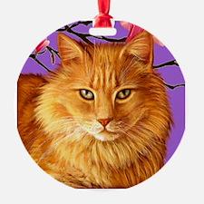 Long Hairedorange Tabby Cat Tile Ornament